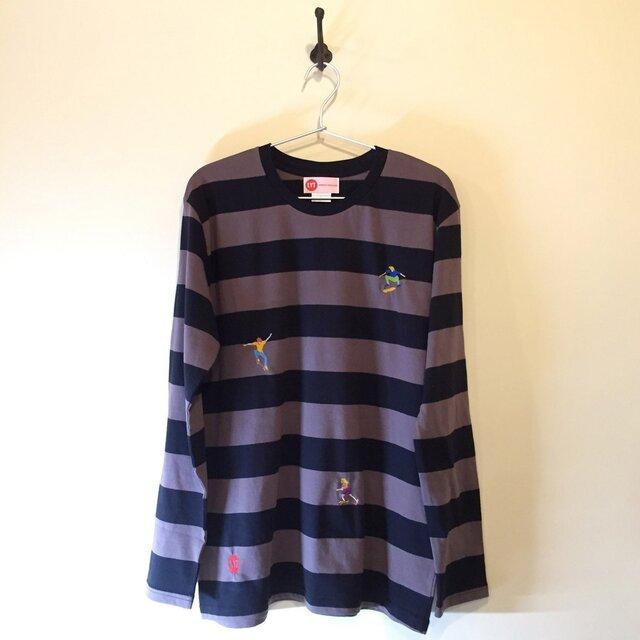 SKATEBOARD 刺繍 ボーダーロングスリーブ Tシャツの画像1枚目