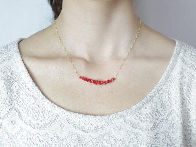 赤サンゴのネックレス14KGFの画像1枚目