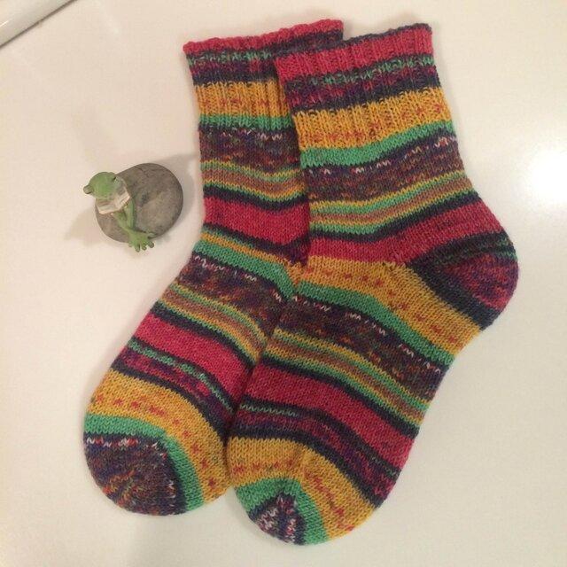 ドイツソックヤーンの手編み靴下【盲目のヴィーナス】送料込の画像1枚目