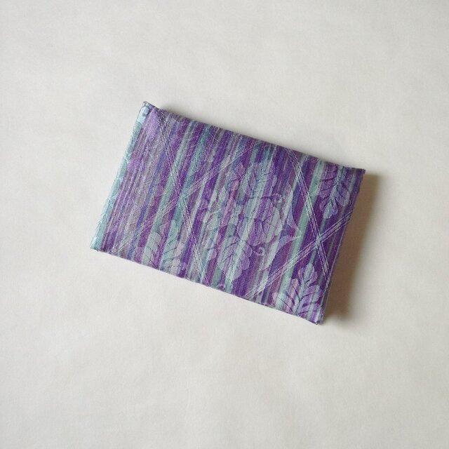 絹手染カード入れ(縦・渋紫薄緑)の画像1枚目