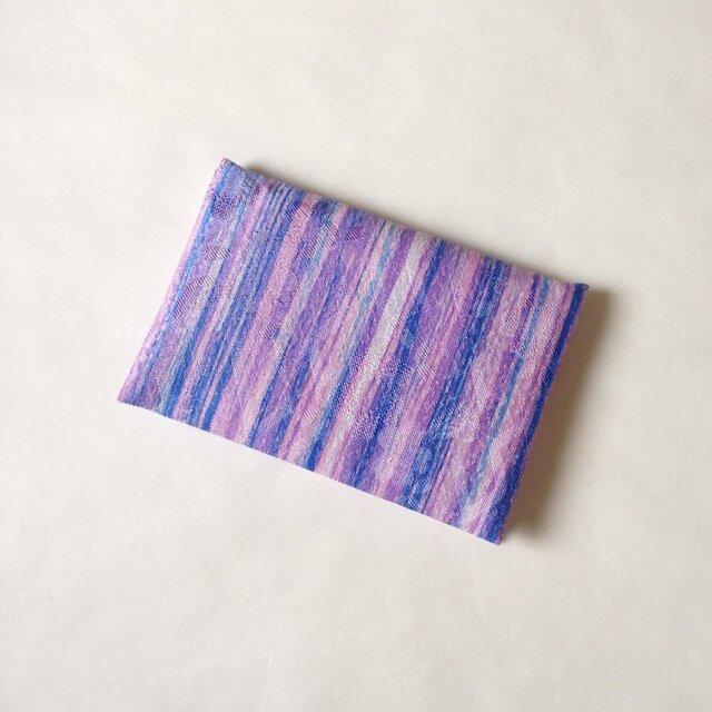 絹手染カード入れ(縦・ピンク紫青)の画像1枚目