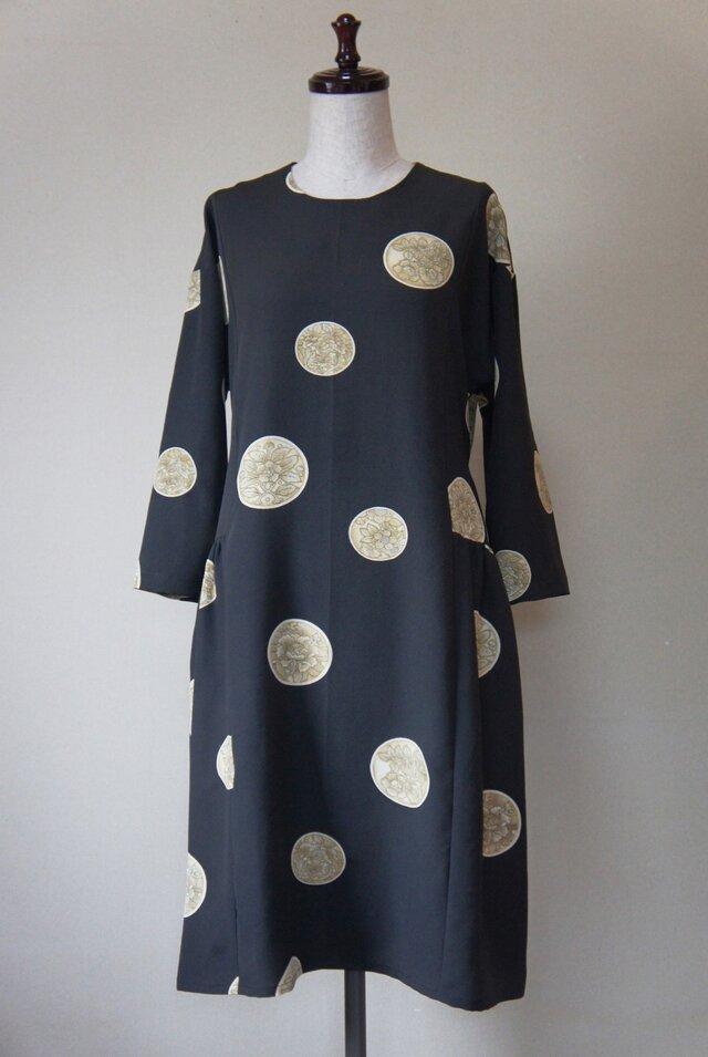 サイドギャザーワンピース(黒)/正絹羽織りリメイクの画像1枚目