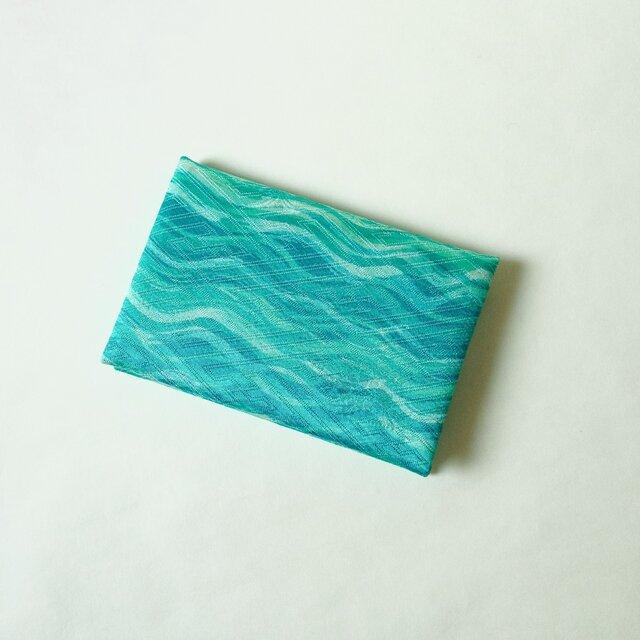 絹手染カード入れ(横波・緑系)の画像1枚目