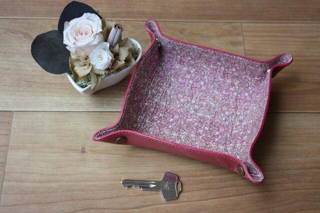 牛革×リバティープリント レザートレー ピンクの画像1枚目