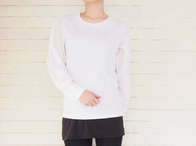 ホワイト シャツリメイク Tシャツ メンズサイズの画像1枚目