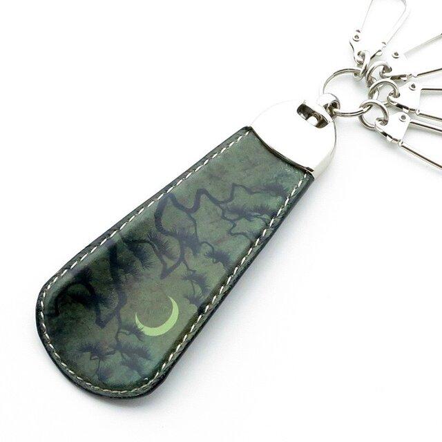 アートシューホーン 牛革製携帯靴べら(月夜の松・ブラックグリーン)の画像1枚目