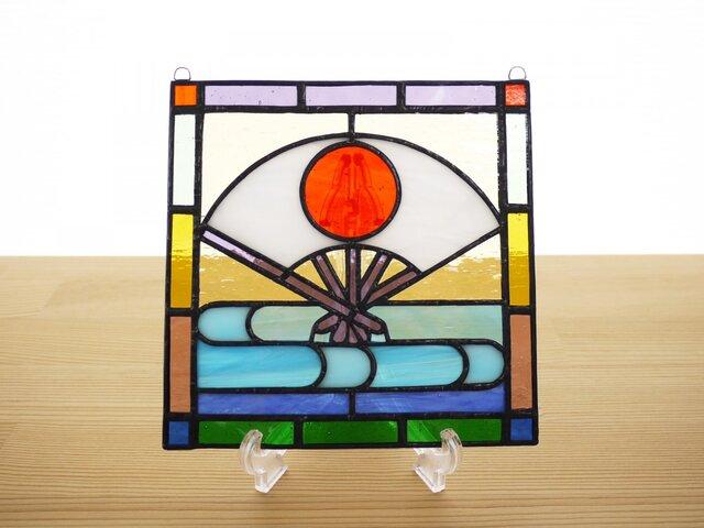 ステンドグラス ミニパネル 扇 15cmの画像1枚目