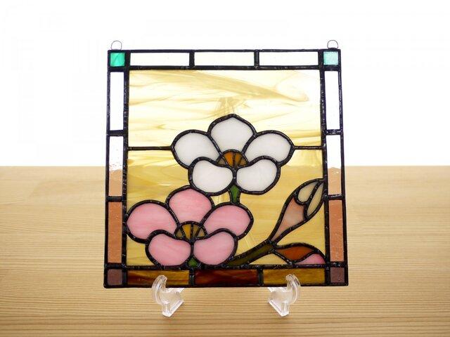 ステンドグラス ミニパネル 梅 15cmの画像1枚目