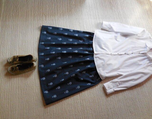 どくろの久留米絣のスカート(アンティークブルー)の画像1枚目