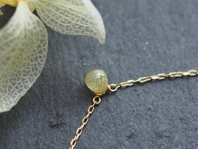 【再】K10 イエローナチュラルダイヤモンド・ブリオレットカット一粒ネックレスの画像1枚目