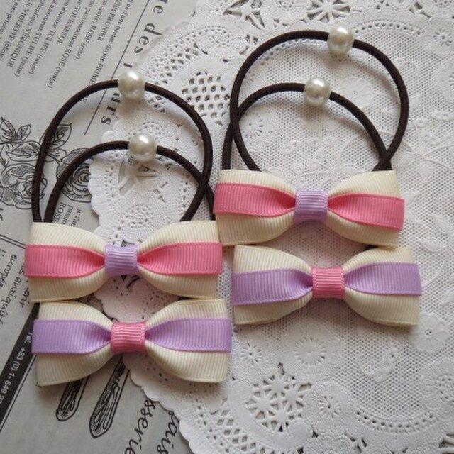 ★好評・再販★ ピンクとむらさきとアイボリーのリボンのヘアゴム 2組の画像1枚目