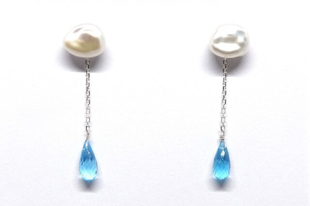 SV925雨雲真珠ブルートパーズブリオレットピアス【Pio by Parakee】 pearl blue topazの画像1枚目