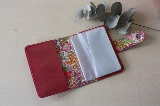 牛革×リバティープリント カードケース  ピンクの画像1枚目