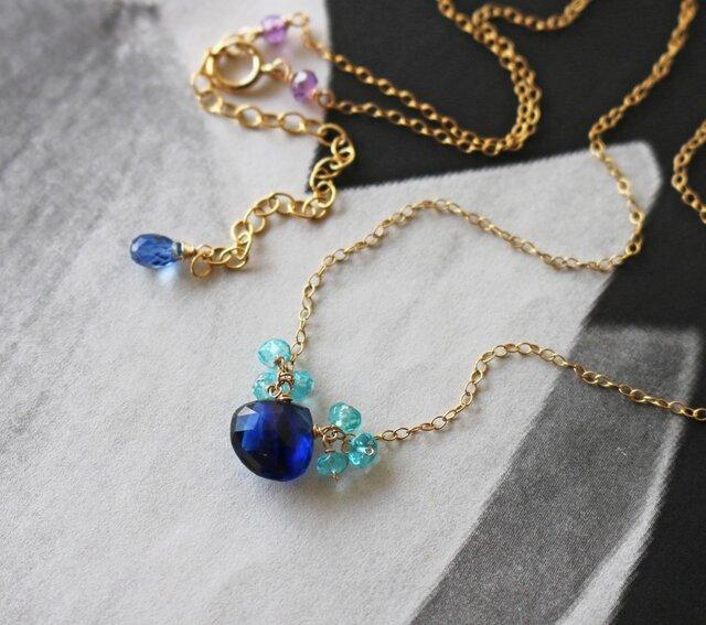 ◆K14gf、宝石質カイヤナイト、アパタイト、アメジスト、シンプルN、一点物の画像1枚目