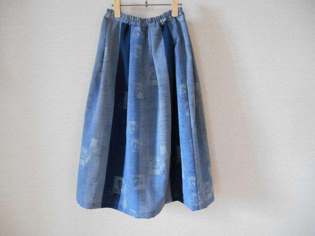 t様ご予約品★ウール着物地のブルー爽やかスカートの画像1枚目