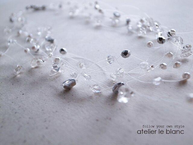 Pisces#2 ダイヤモンド・ダスト~クリスタルのテグスネックレス~の画像1枚目