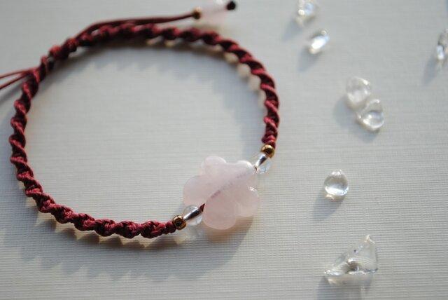 桜色 ローズクォーツお花のブレスレットの画像1枚目