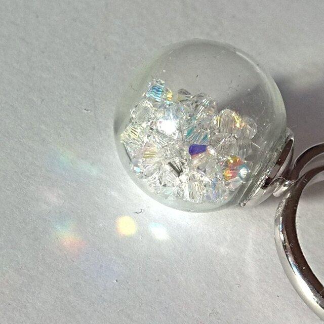 【ガラスドームの スワロフスキー 春色クリスタルオーロラ リング】クリスタル ホログラムスターの画像1枚目