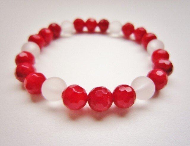 紅サンゴ & 水晶 ブレスレットの画像1枚目