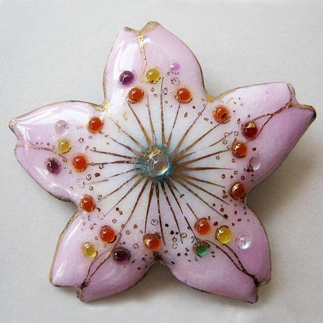 七宝焼ブローチ 桜の花(1)の画像1枚目