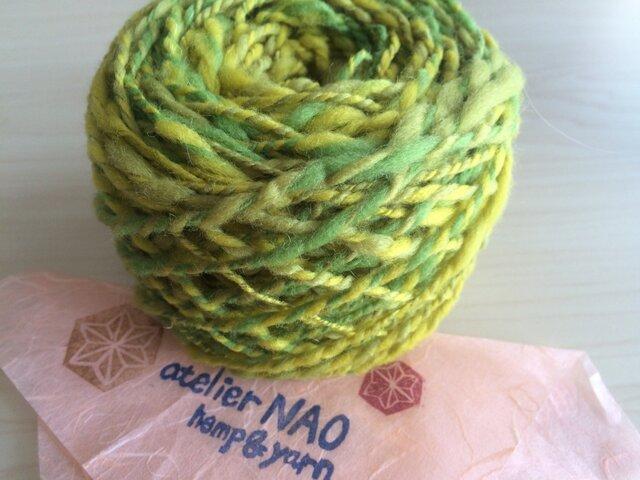 麻の繊維入り手紡ぎ毛糸 メリノウール 黄色系の画像1枚目
