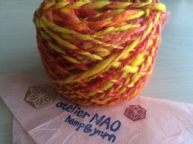 麻の繊維入り手紡ぎ毛糸 メリノウール オレンジ系の画像1枚目