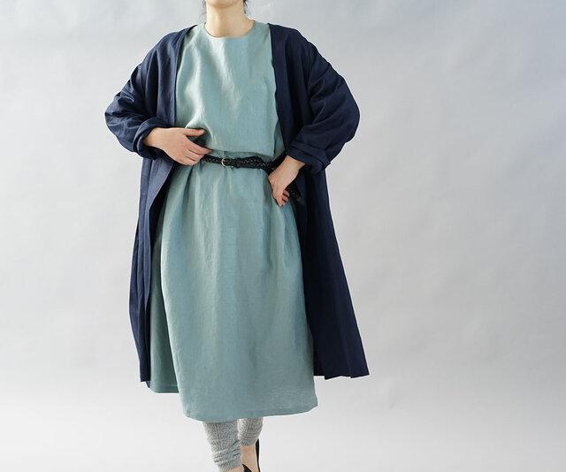 【wafu】中厚 リネン コート 羽織 ノーカラー アウター ドロップショルダー ガウン/ネイビー h022a-neb2の画像1枚目