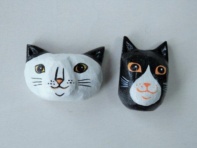 木彫りマグネット 猫の画像1枚目