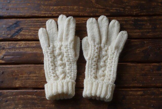 M様ご依頼 アラン模様手袋の画像1枚目