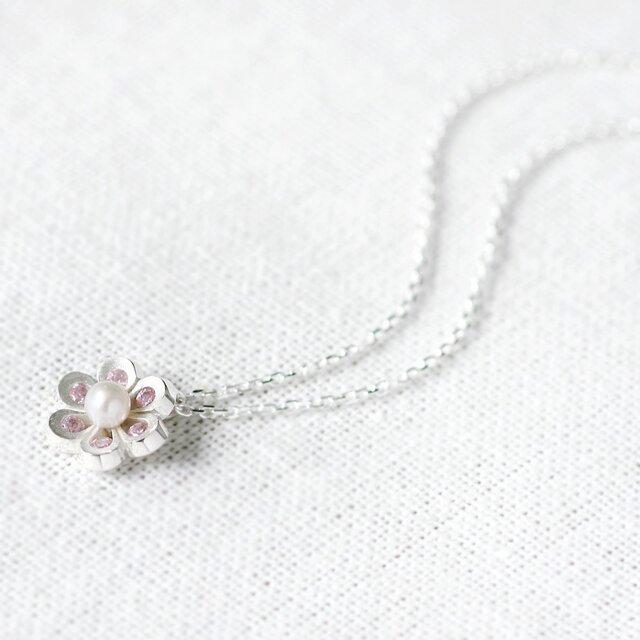 Pink 花&真珠 ネックレス シルバー925の画像1枚目