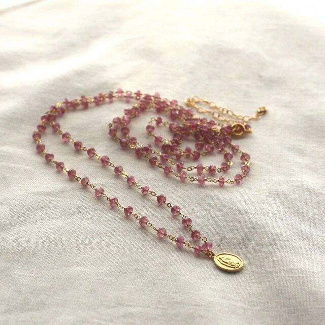 Pink Tourmarine Long Necklaceの画像1枚目
