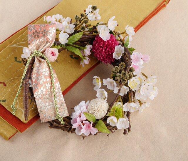 さくら。桜リース ピンク(アーティフィシャルフラワー)の画像1枚目