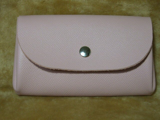アコーディオン♪ お財布~ワイドタイプ(ピンク  シボ柄)の画像1枚目