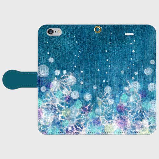 iPhone/手帳型スマホケース「雨降る」(受注生産)の画像1枚目