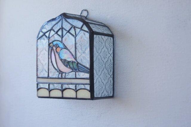 青いトリ 鳥かご壁掛けランプ の画像1枚目