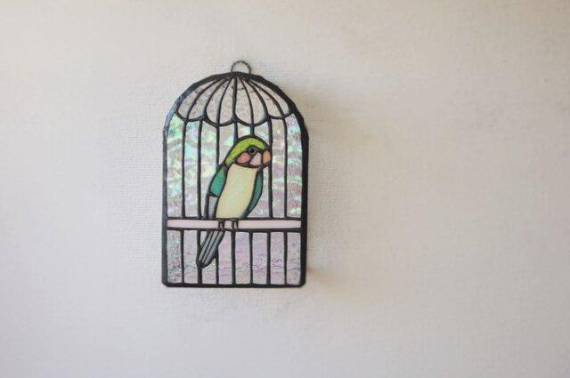 黄緑のトリ 鳥かご壁掛けランプ の画像1枚目