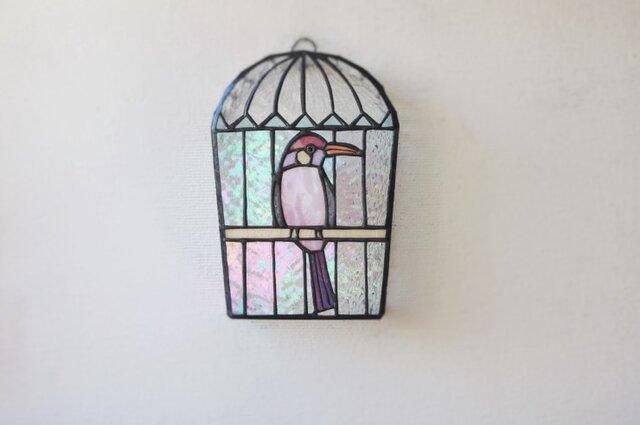 モモイロのトリ  鳥かご壁掛けランプ の画像1枚目