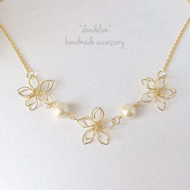 【再…】高品質~小花~ wire flower コットンパールネックレス*の画像1枚目