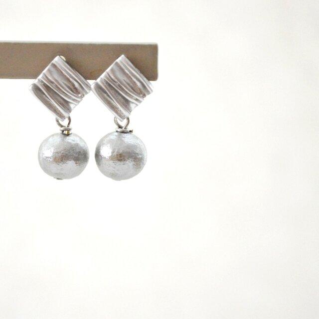 Rhombus Cotton Pearl Pierce Matte Silverの画像1枚目