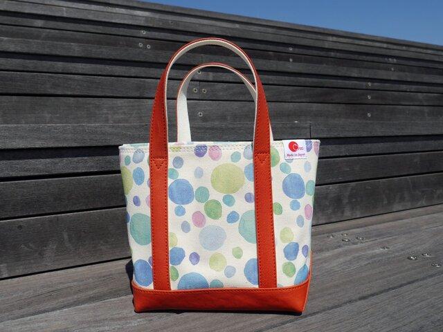 革と帆布のミニトートバッグ 水玉柄 (レッド)  【Small】の画像1枚目