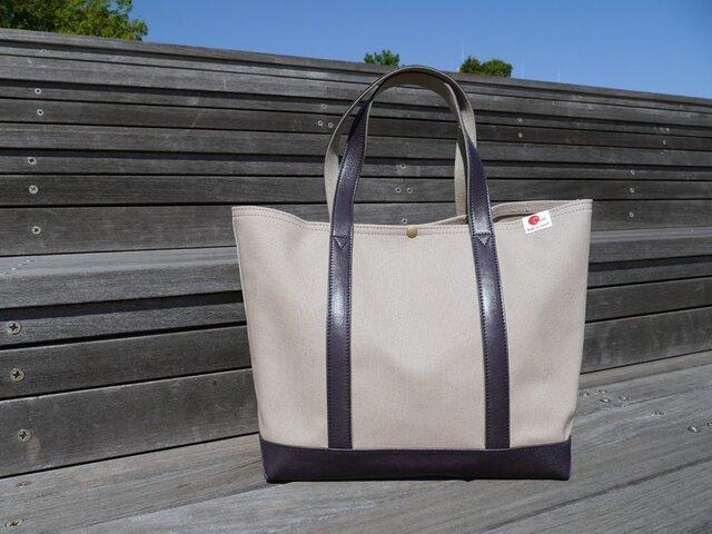 革と帆布のトートバッグ  マッシュカラー (ネイビー)  【Large】の画像1枚目