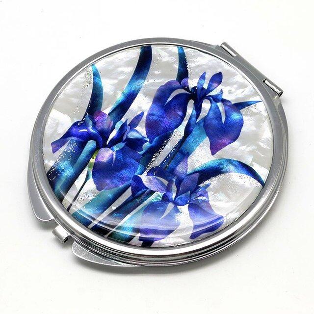 コンパクトミラー 天然貝仕様(かきつばた)<螺鈿アート>の画像1枚目