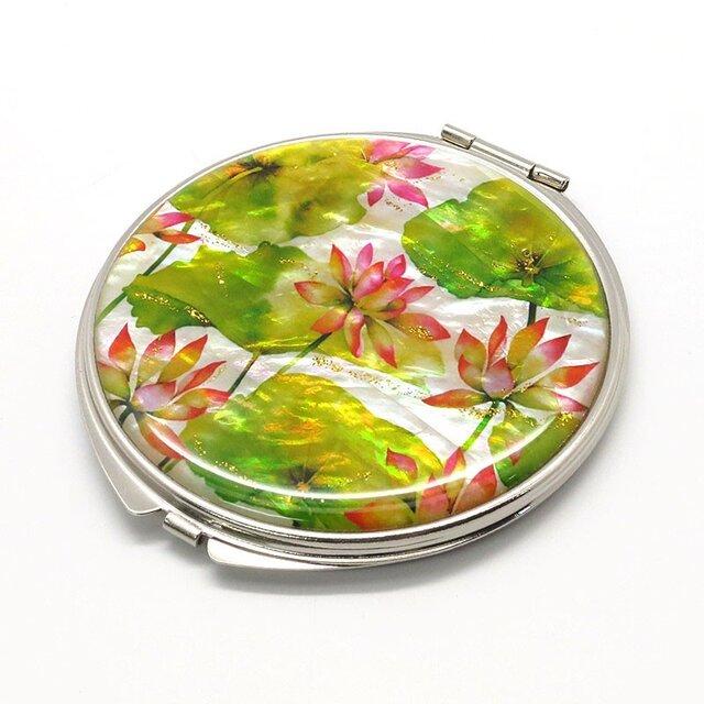 コンパクトミラー 天然貝仕様(蓮の花)<螺鈿アート>の画像1枚目