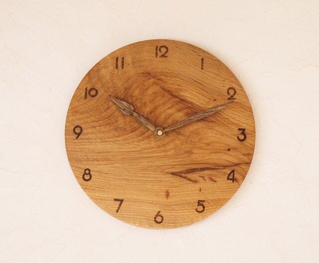 掛け時計 丸 楢材⑫の画像1枚目