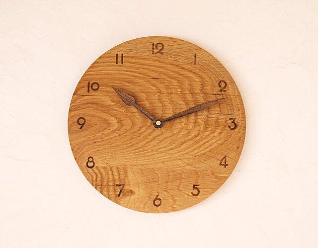 掛け時計 丸 楢材⑭の画像1枚目