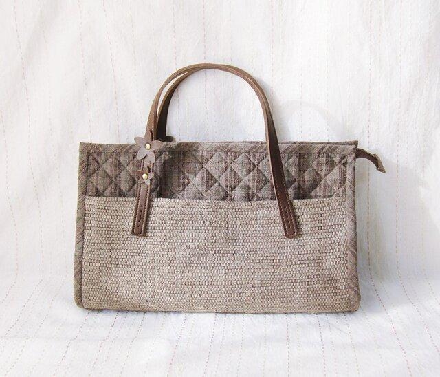 紬と裂き織りのこぶりバッグ(茶)の画像1枚目