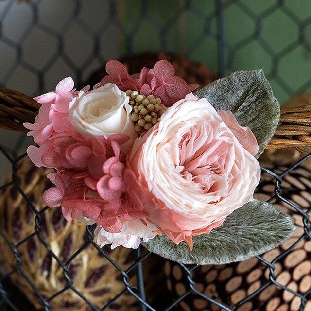 【アンティークショコラ】 プリザーブドフラワー コサージュ  ローズ アジサイ 発表会 結婚式 二次会 髪飾りの画像1枚目