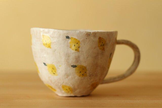 粉引き手びねりレモンいっぱいのカップ。の画像1枚目