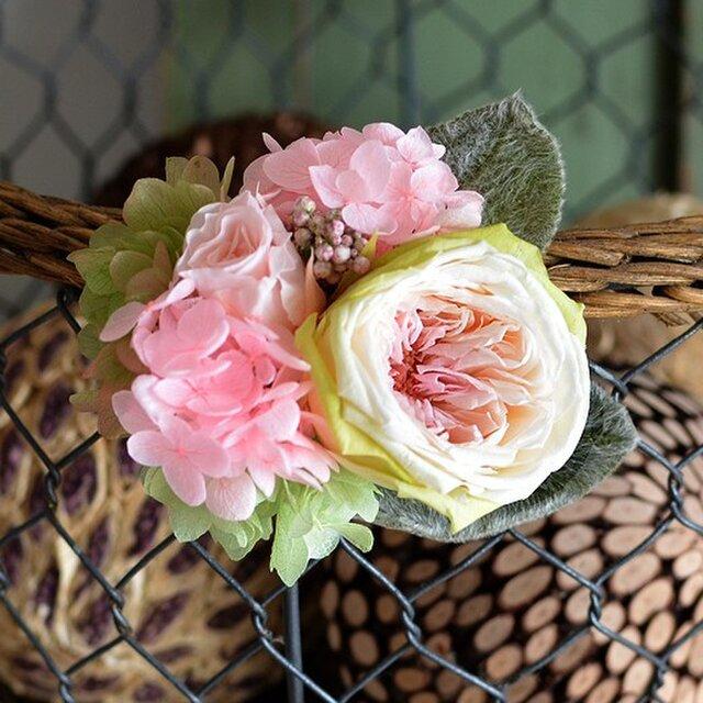【ノーブルライラック】 プリザーブドフラワー コサージュ ローズ  アジサイ 発表会 結婚式 卒業式 入学式 ヘッドドレスの画像1枚目