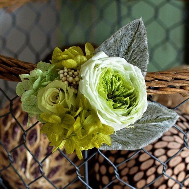 卒業式 入学式  【ミントグリーン】 プリザーブドフラワー コサージュ  結婚式 発表会 ヘッドドレスの画像1枚目